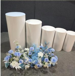 Round 5pcs Risers White Iron Plinth Display Party Pedestal Wedding Free shipping