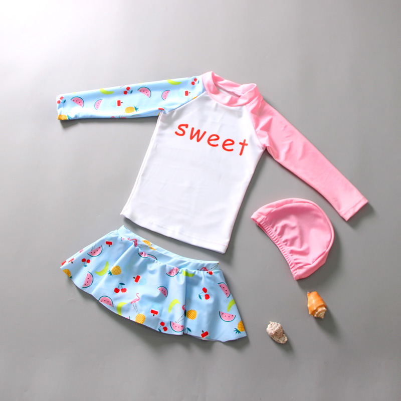 South Korea Split Skirt-Sun-resistant Girls Children Baby Bathing Suit Korean-style GIRL'S Split Type Long Sleeve Sun-resistant