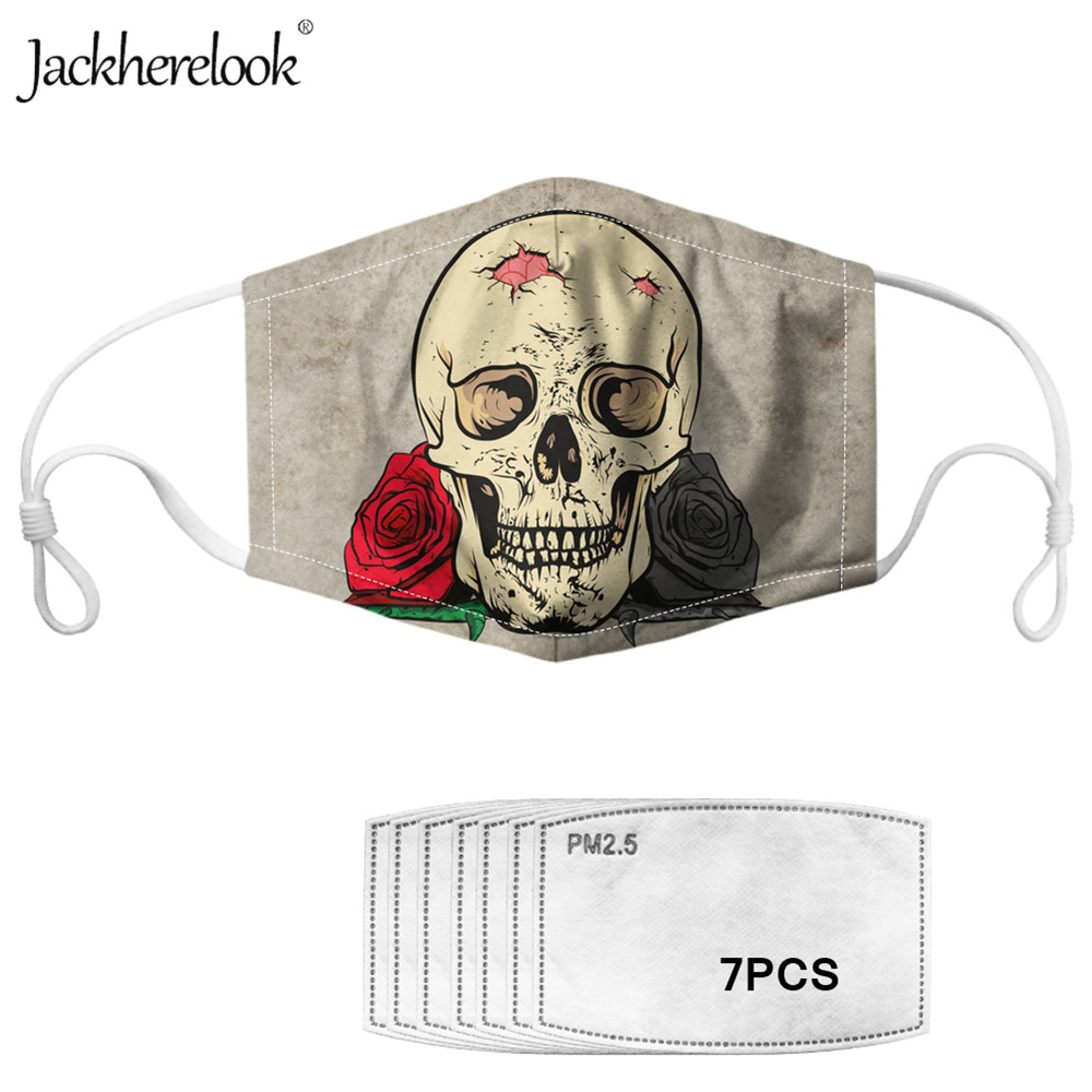 Jackherelook Brand Designer Sugar Rose Skull Unisex Face 7PCS Filters Masks Prevent Bacteria Dustproof PM2.5 Gothic Mouth Masks