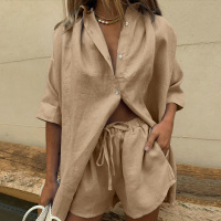 Casual Womem Yellow Lounge Wear Summer Tracksuit Shorts Set Long Sleeve Shirt Tops And Mini Shorts Suit 2021 New Two Piece Set 1