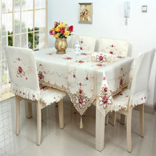 Embroidered Rectangle Oil proof Table Cover Lace Hollow Hem Dust Cloth Home Outdoor Hotel Wedding Banquet Tablecloth