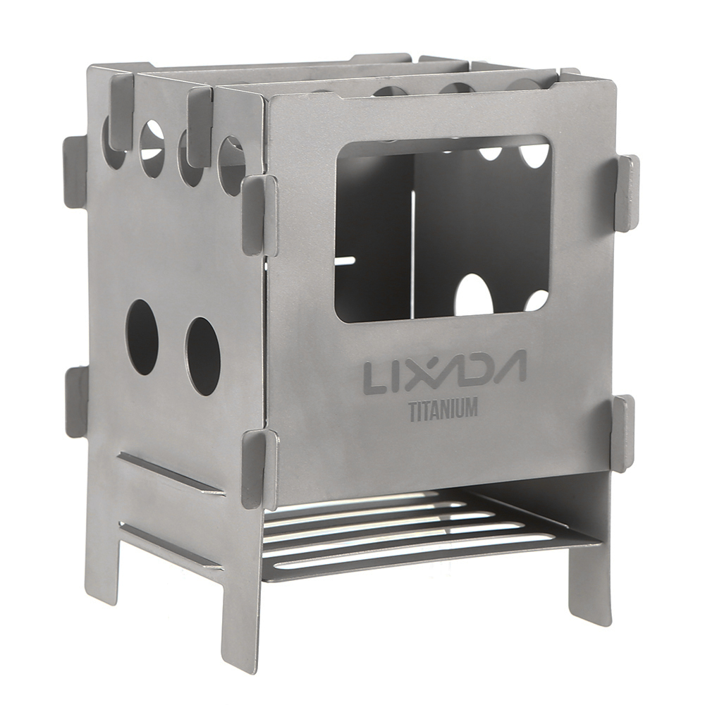 Lixada Titanium Wood Stove Lightweight Folding Wood Stove Outdoor Camping Stove Picnic Cooking Burners Backpacking Furnace