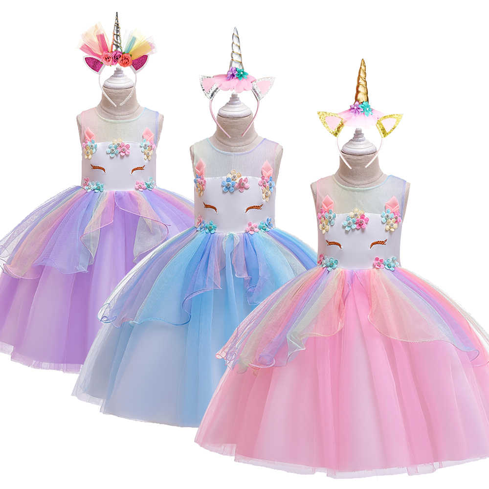 Trẻ Em Tưởng Tượng Kỳ Lân Đầm Công Chúa Trẻ Em Sinh Nhật Tiệc Cưới VÁY ĐẦM Cho Đẹp 3-8Y Trẻ Em Gái Customes Quần Áo