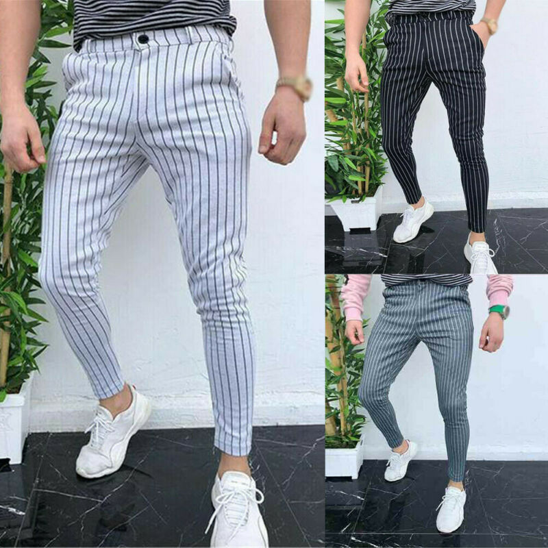 2020 Sexy High Spring Summer Fashion Pocket Men's Slim Fit Plaid Straight Leg Trousers Casual Pencil Jogger Casual Pants