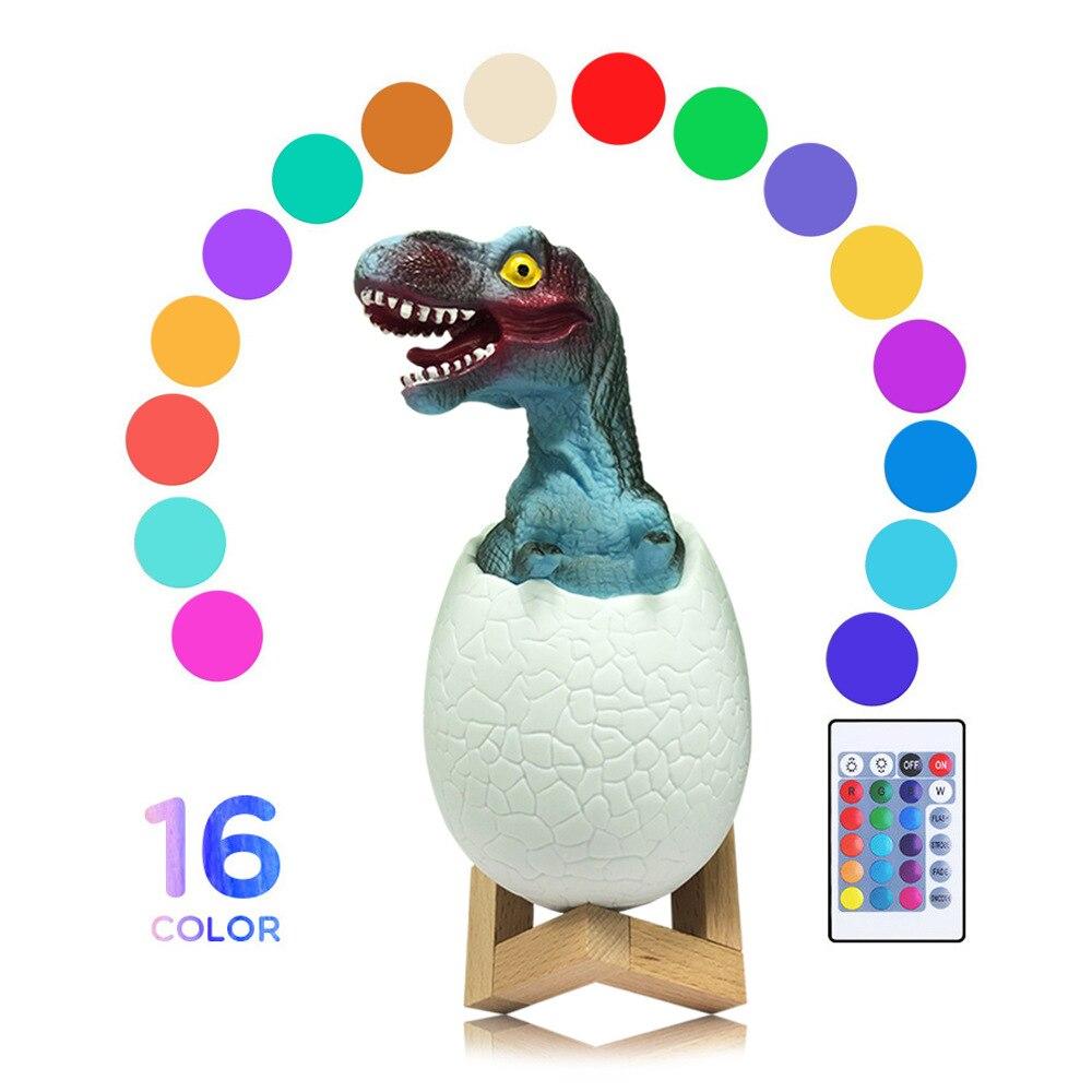 Lampe dinosaure 3D 3 couleurs/16 couleurs dinosaure oeuf LED veilleuse avec interrupteur tactile pour enfants cadeau USB lampe de Table
