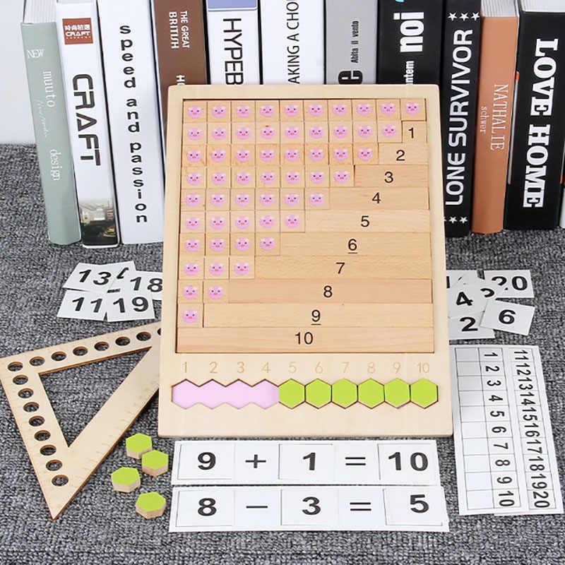 مونتيسوري الرياضيات وسائل تعليمية ألعاب خشبية لغز الجدول لعبة إضافة الطرح الضرب قسم الحساب صندوق التعلم