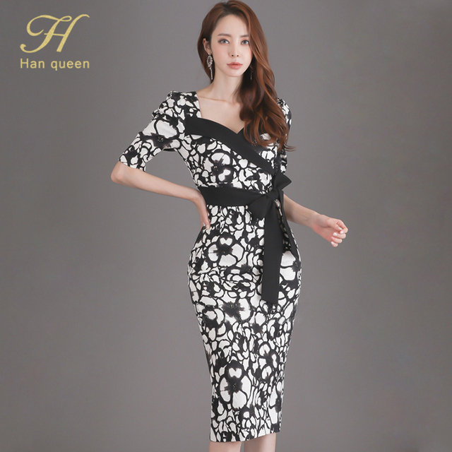H Han Queen Flower Print Fashion Pencil Dress Women Casual Dresses Office Lady Evening Party Sexy Elegant Simple Series Vestidos 5