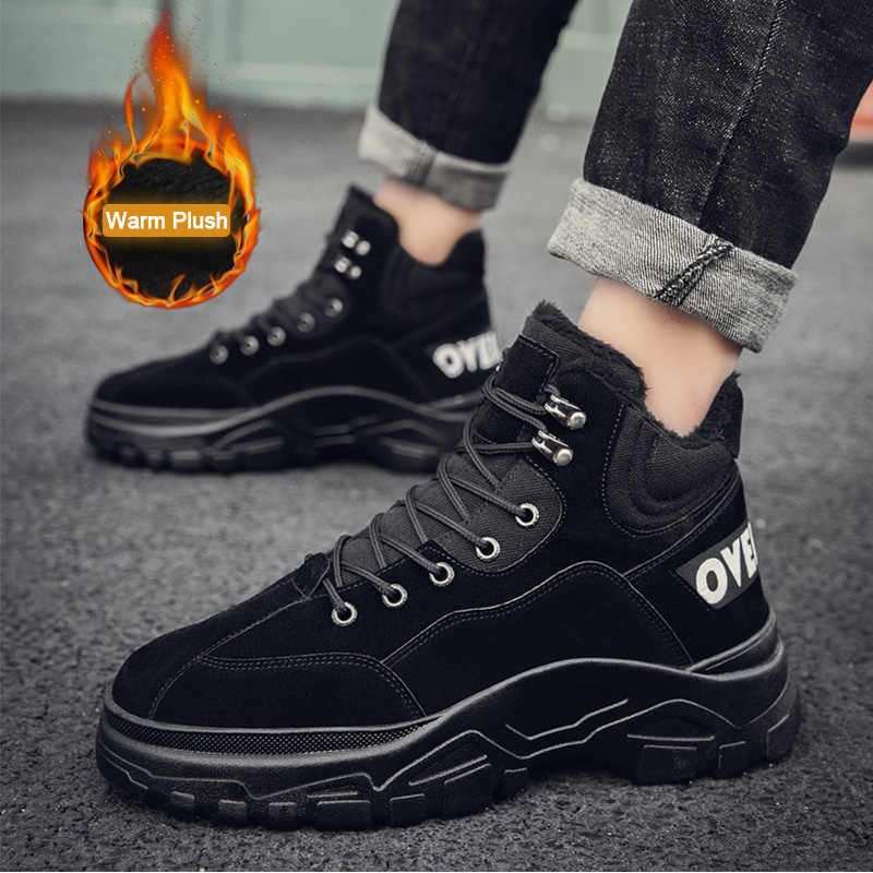 SUROM Fashion Classic Casual mannen Schoenen Winter Pluche Lace Up Sneakers PU Leather Man Bont Flats Comfortabele Sapato Masculino