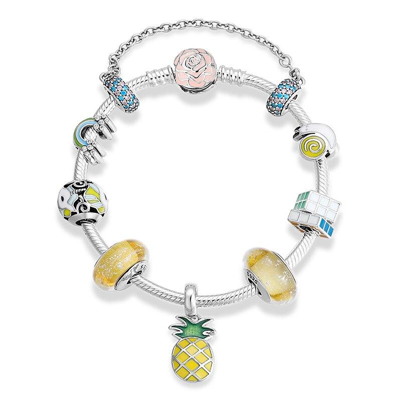 2019 novo 925 prata esterlina pulseiras & pulseiras colorido esmalte cz arco íris unicórnio charme para as mulheres jóias diy cristal pulseira - 2