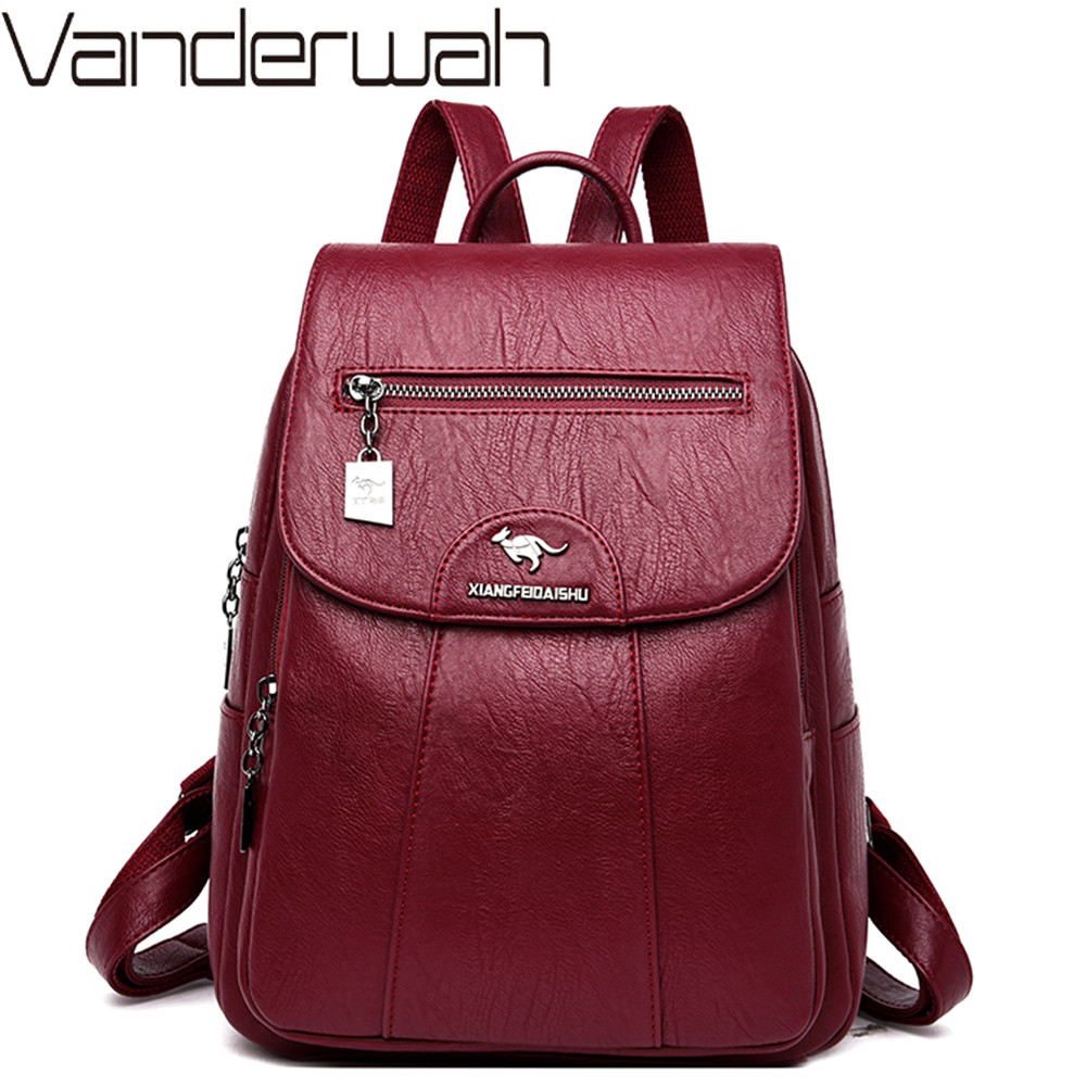 Women Soft Leather Backpacks Vintage Female Shoulder Bags Sac A Dos Casual Travel Ladies Bagpack Mochilas School Bags For Girls