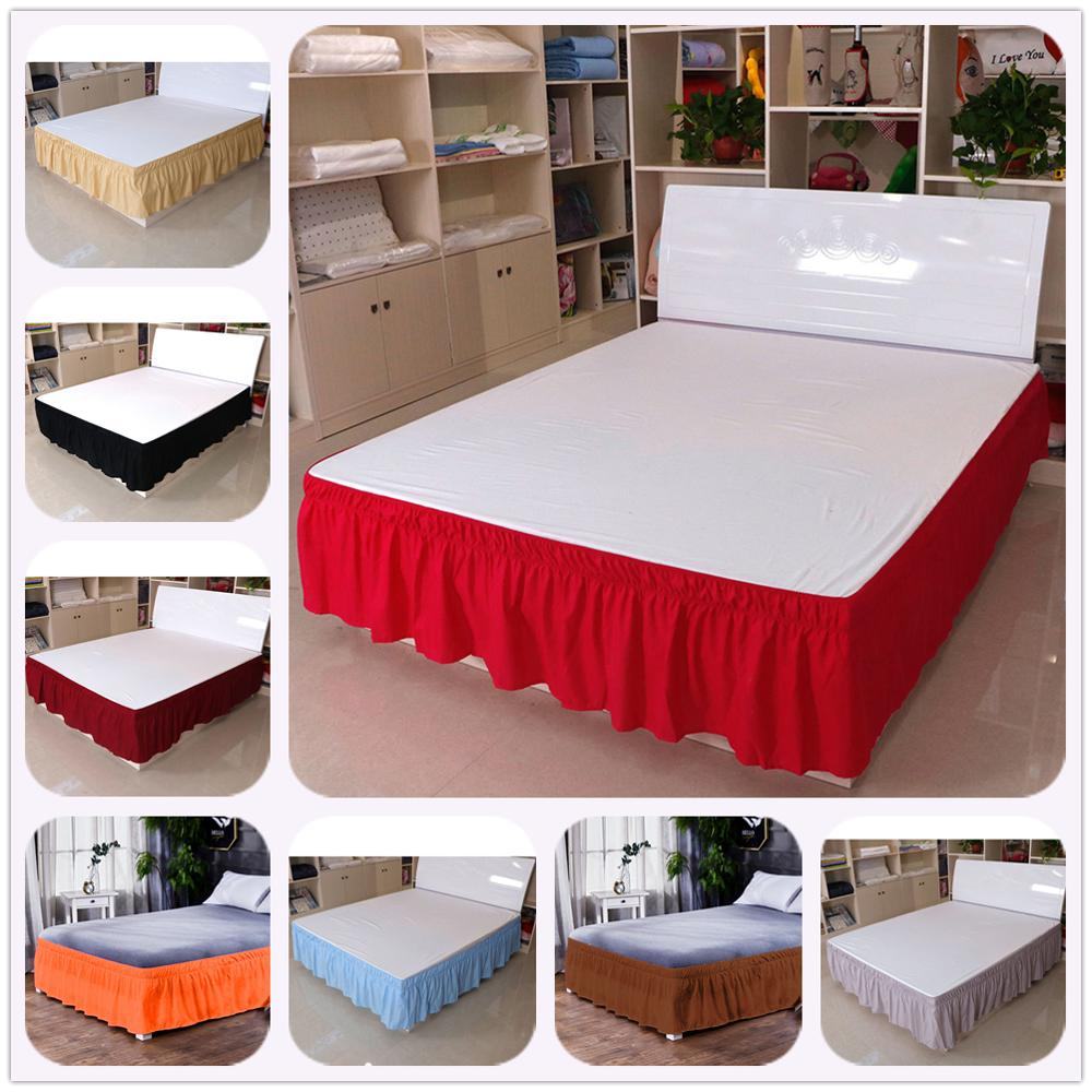 Solid Color Elastic Bed Skirt Sides Wrap Around Removable Bedshirts No Fading Full Queen King Size For Hotel Bedside Decoration Pure White And Translucent