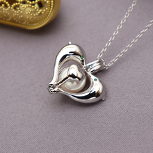 цена на 925 sterling silver 8-10mm dolphin shaped Essential Oil Diffuser Necklace Locket Pearl Cage zircon Pendant accessory DIY Jewelry