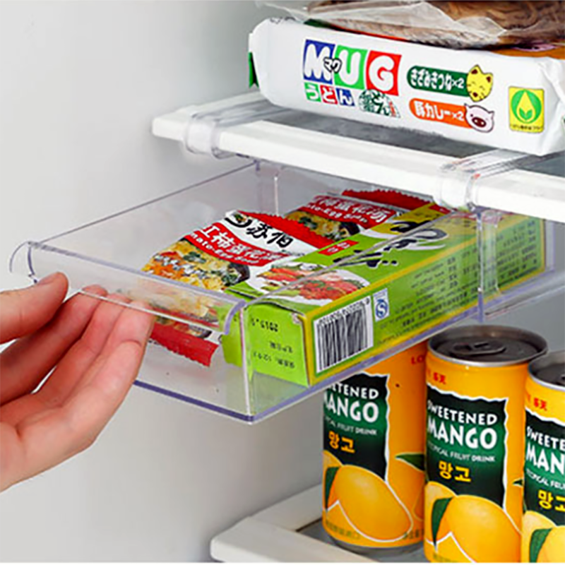 2PCS Fridge Organizer Storage Rack Fridge Freezer Shelf Pull-out Refrigerator Storage Box Food Preservation Partition Container
