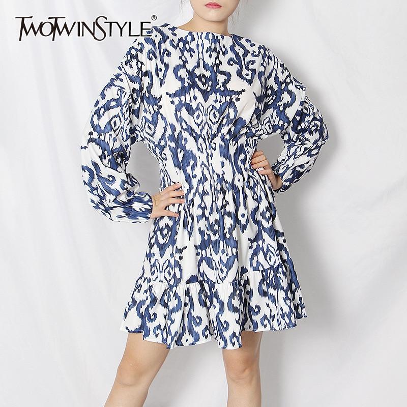 TWOTWINSTYLE Elegant Print Dresses For Female O Neck Lantren Long Sleeve High Waist Ruffles Hit Color Women Dress Fashion Tide