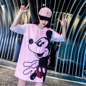 Women Summer Plus Size Dress Short Sleeve Streetwear Casual Loose O-Neck   Sequin Party Club Mini Dresses 5