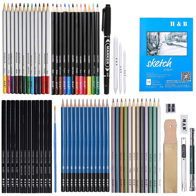 72 Piece Kit Sketch Pencils and Colored Pencils Art Set - Ideal Gift for Beginners & Pro Artists Drawing Art, Sketching, Shading image