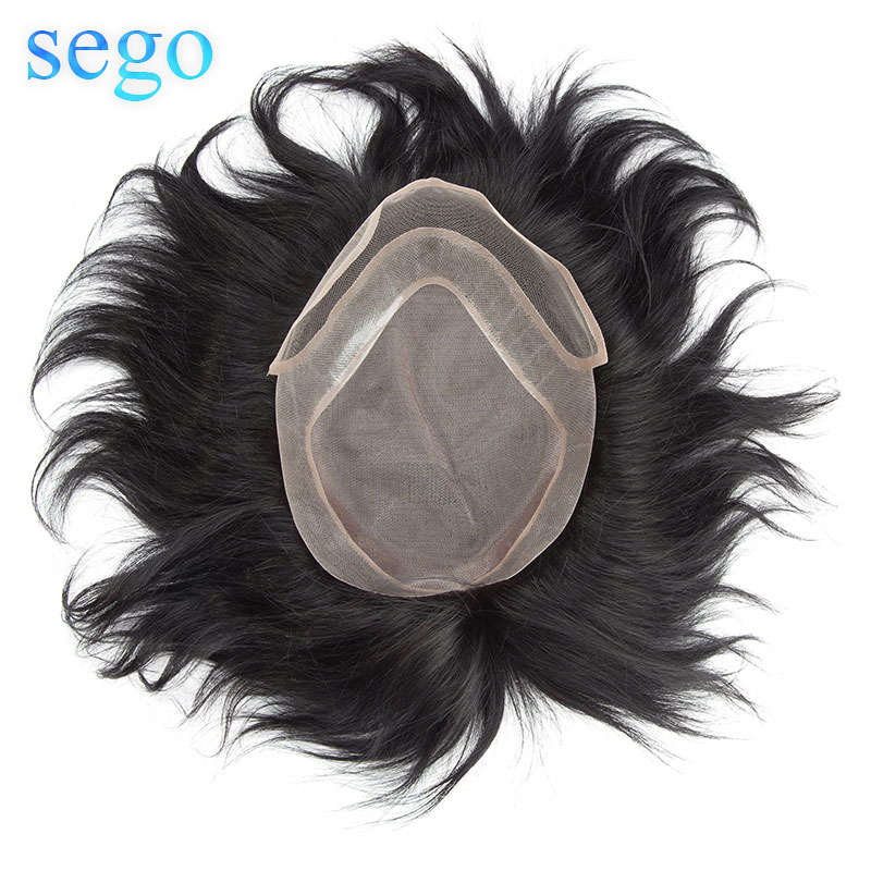 """SEGO 8""""x10"""" Density 120% Straight Men Toupee 100% Real Human Hair Natural Replacement Hair System Remy Mono&PU&Lace Toupee Wig"""