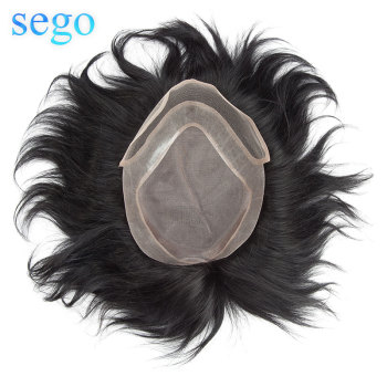 SEGO 8x10 Density 120% Straight Men Toupee 100% Real Human Hair Natural Replacement Hair System Remy Mono&PU&Lace Toupee Wig bymc breathable men s hair toupee full pu 100