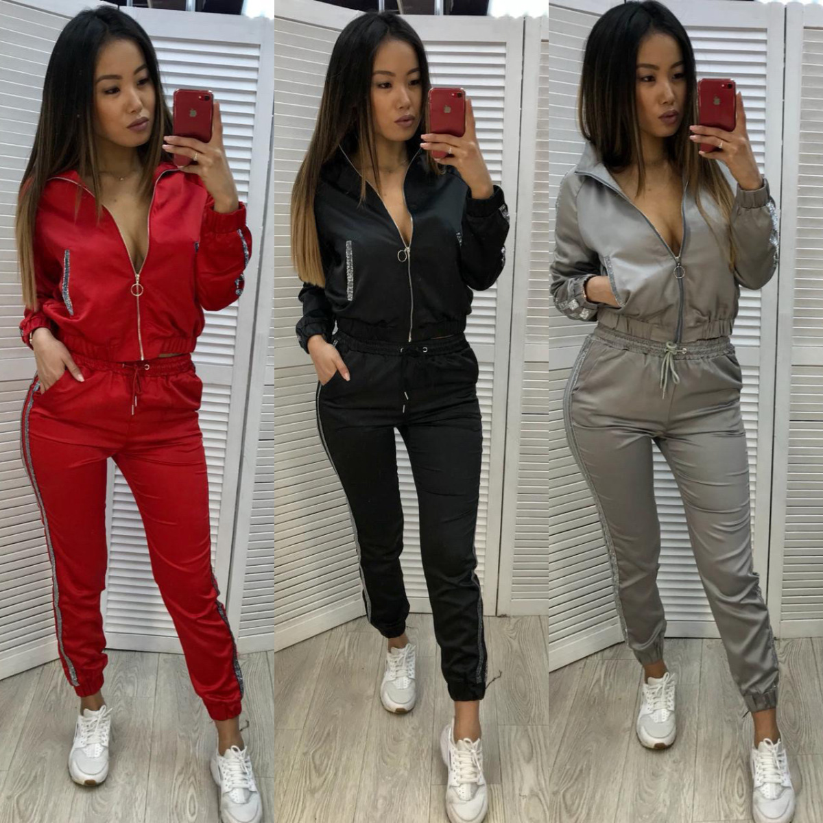 2019 New Women Two Piece Set Winter Sports Suits For Women Office Lady Loose Casual Female Zipper Sports Suit Fashion Tracksuits