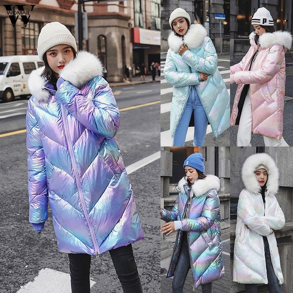 Женское ветрозащитное пальто, длинная теплая парка на молнии с блестящей поверхностью и стразами, зимнее пальто с капюшоном, 2019|Парки|   | АлиЭкспресс