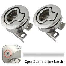 2PCS Mirror Polished stainless steel Flush Boat marine Latch Flush Pull Latches Slam lift handle Deck Hatch marine hardware