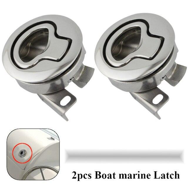 2PCS 미러 폴리 쉬드 스테인레스 스틸 플러시 보트 해양 래치 플러시 당겨 래치 슬램 리프트 핸들 데크 해치 해양 하드웨어