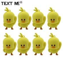 텍스트 나 만화 귀여운 노란색 치킨 스타일의 usb 플래시 드라이브 usb 2.0 4 기가 바이트 8 기가 바이트 16 기가 바이트 32 기가 바이트 64 기가 바이트 pendrive 귀여운 선물