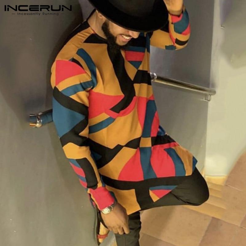 INCERUN Fashion African Dashiki Printed Shirt Men Long Sleeve Loose Long Tops 2020 Casual Retro Shirts Men African Clothes S-5XL