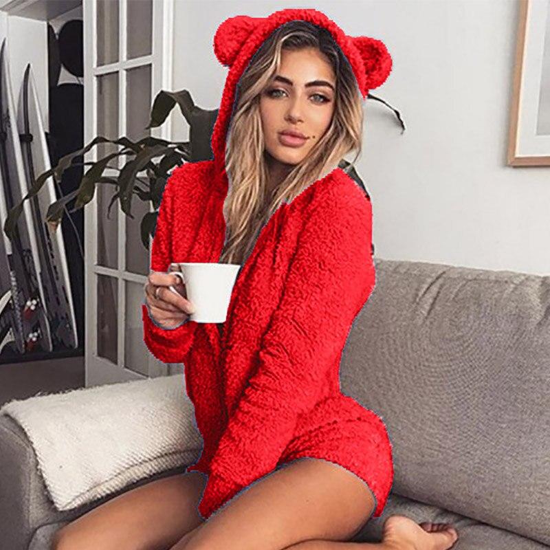 5XL Women Jumpsuits Fleece Pajama Bear Ear Hooded Bodysuit Shorts Winter Warm Tracksuit Streetwear One-piece Sleepwear Plus Size 21