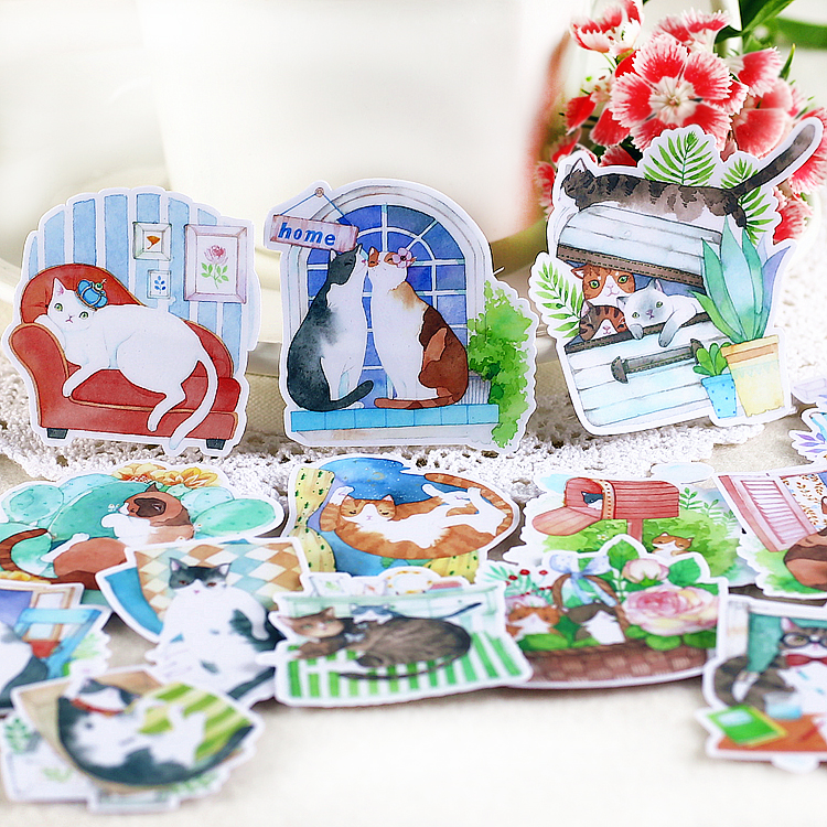 20PCS Cat Life Paper Stickers Crafts And Scrapbooking Stickers Kids Toys Book Decorative Sticker DIY Stationery