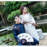 Chinese Daily Hanfu Men Women General Tang Round collar Embroidered Blue PC White Couple Dresses Leather Belts student autumn