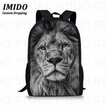 IMIDO 3D Lion Animals Printing Balck Backpack Fashion Women Men Travel Laptop Backpacks Large Capacity Travel Bagpack Rucksack