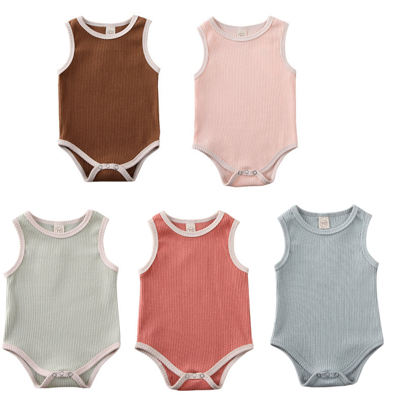 Pudcoco Infant Baby Boy Girl Clothes Brand Summer Sleeveless Solid Color Romper Jumpsuit Baby Boy Girl Cotton Summer Outfits