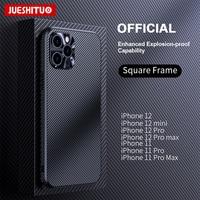 JUESHITUO-funda de fibra de carbono a prueba de golpes para iPhone 11, 12 Pro Max, protección de lente completa para iPhone 12 Mini