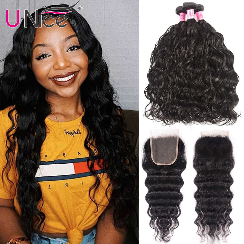 UNice Hair 8A Indian Natural Wave With Lace Closure 4*4 Free Part Lace Closure With 3 Bundles Human Hair Weaves