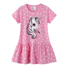 Children Clothes Baby Girls Summer New Fashion Pink Short Sleeve Cotton Dress Kids Floral Bow Unicorn Print Princess Party Dress new arrival easter baby girls long sleeve cotton floral ruffle boutique romper tutu pink clothes bunny kids wear match bow kids
