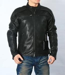 Image 1 - משלוח חינם. בתוספת גודל קלאסי גברים פרה עור מעילים, גברים של אמיתי עור אופנוען. מותג מנוע עור מעיל