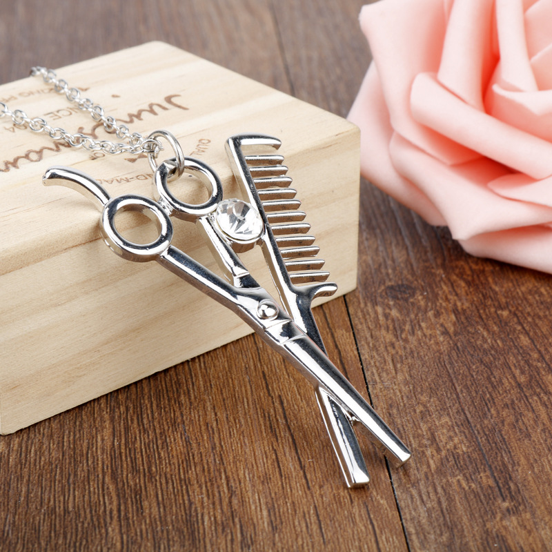 Linmouge Punk Comb Rose Gold & Silver Plated Scissor & Comb Crystal Pendants Necklace Cute  Gift For Hairdresser Man Jewelry NF1