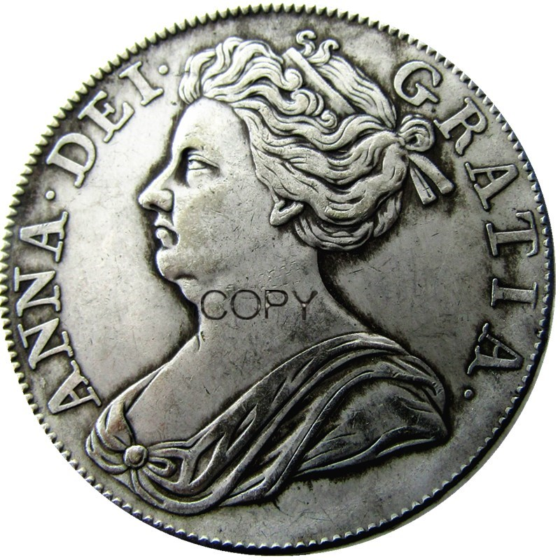 United Kingdom 1713 1 Crown Anne Silver Plated Copy Coin