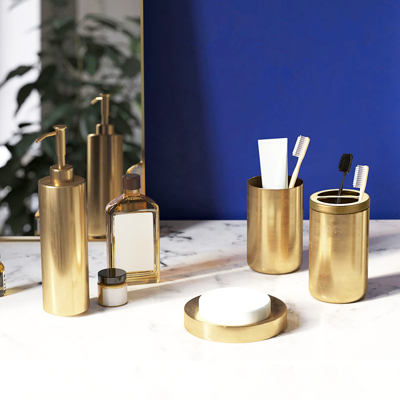 Bathroom Accessories Set Brush Gold Soap Dispenser Soap Dish Toothbrush Holder Gargle Cup Toilet Brush Holder Bathroom hardware image