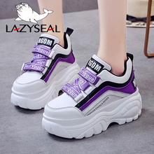 LazySeal Platform Boots Woman Height Increasing Sneakers Ankle Boots