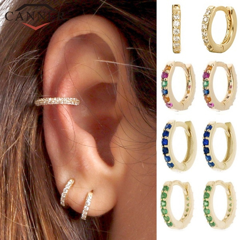 Exquisite White/Blue/Red/Green/Rainbow Zircon Small Hoop Earrings for Women Gold Silver color Circle Earrings