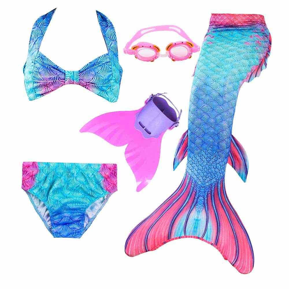 جديد جميل الأطفال حورية البحر ذيول مع Monofin للأطفال الفتيات زي Swimmable السباحة زعنفة ازياء الطفل بيكيني دعوى