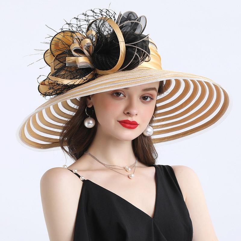 Elegant Women Feather Flower Striped Kentucky Derby Hat 16cm Wide Brim Church Dress Sun Hat Lady Summer Beach Party Wedding Hat