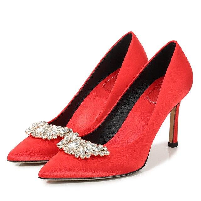 Купить женские красные свадебные туфли; изящные туфли на каблуке с картинки