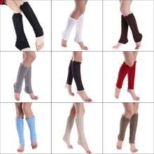 Womens Girls Hollow Out Imitation Lace Knitted Boot Cuffs Cover Wavy Trim Solid Color Knee High Long Leg Warmers Elastic Socks(China)