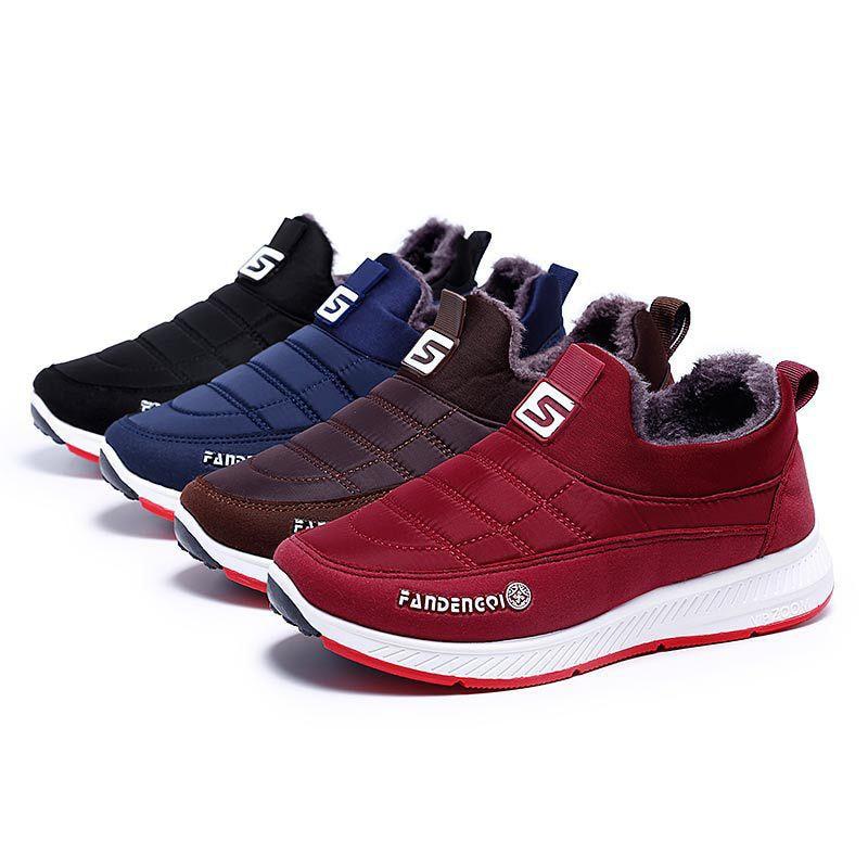 Man's Winter Non-slip Cotton Plus Velvet Shoes Boots Home Casual Warm Slip On Round Toe Women Couple Shoes Short Ankle Boots