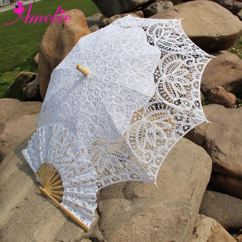 Handmade Bridal Battenburg Lace Parasol And Fan Set Wedding Bride Umbrella Fan Set