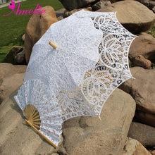 Handmade Bridal Battenburg Lace Parasol and Fan set Wedding Bride Umbrella Fan Set(China)