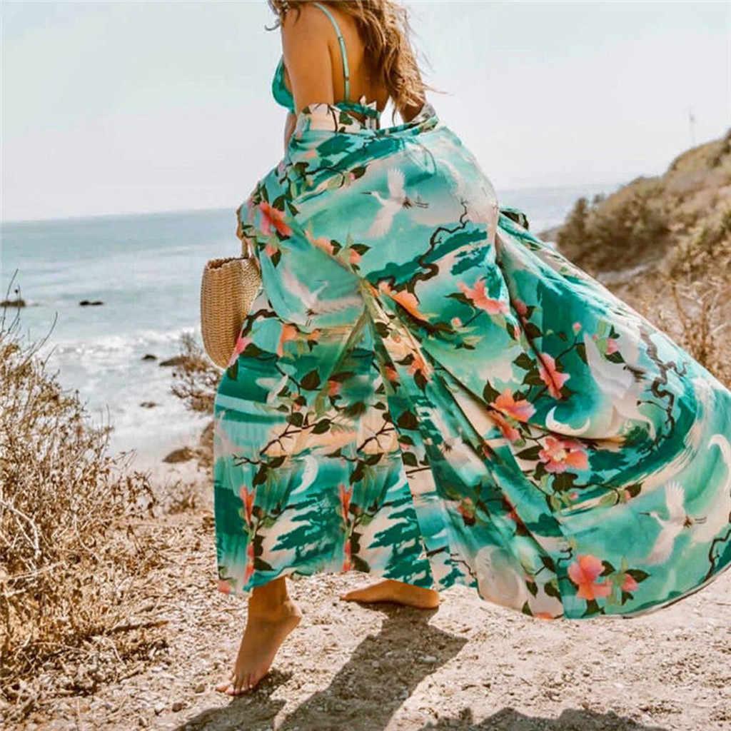 2020 מקרית Boho חוף שמלת נשים פרחוני ארוך שרוול שיפון קרדיגן חום שמלת קימונו כיסוי Ups קיץ מקרית מקסי שמלות